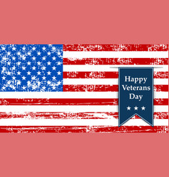 flag america to the day veterans retro vector image