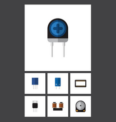 flat icon technology set of hdd receiver vector image