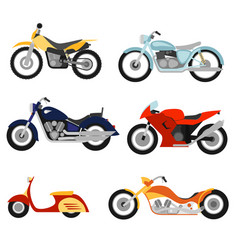 flat style motorcycles set vector image