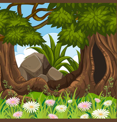 Forest land scape scene vector