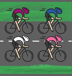 four flat bicyclists side view vector image
