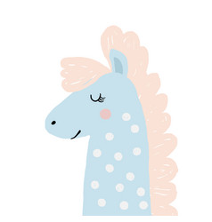 funny pastel horse pony cute graphic for kids vector image