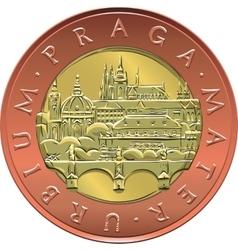 Gold Money twenty czech crones coin vector