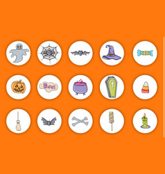 Halloween icons holiday design stickers vector