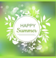 Happy summer green card design vector