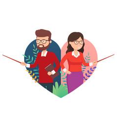 happy teacher day school poster concept teacher vector image
