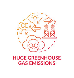 Huge greenhouse gas emissions concept icon vector