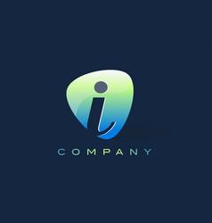 i letter logo oval shape modern design vector image