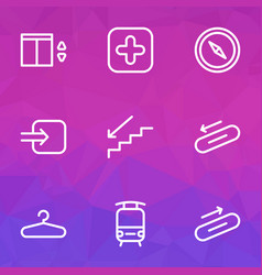 Information icons line style set with staircase vector
