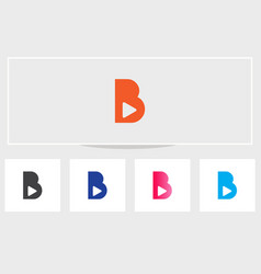 Initial letter b logo with play icon b with play vector