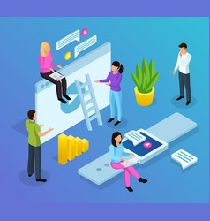 interface office isometric composition vector image