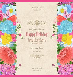 Invitation card with elegant vertical borders vector