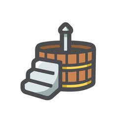 japanese bath wooden icon cartoon vector image