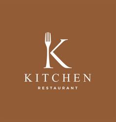 K letter mark fork food restaurant logo icon vector