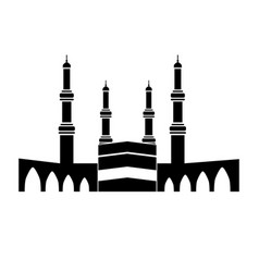 Kaaba at great mosque mecca black vector