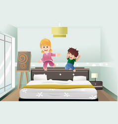 kids jumping on the bed vector image