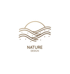 linear logo sea waves vector image
