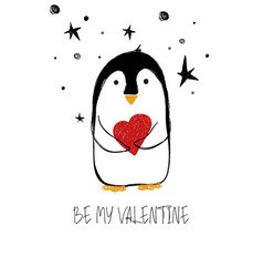 love card with cute penguin vector image