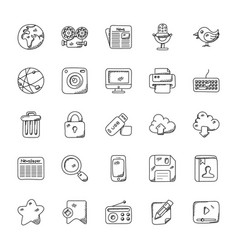 media icons doodle collection vector image