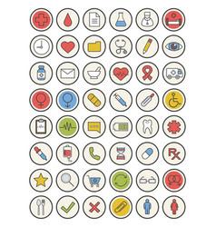 Medicine color icons set vector