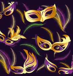 merdi gras celebration with masks background vector image
