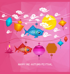 mid autumn festival polygonal background with vector image