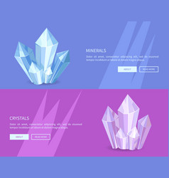Minerals crystals web posters online push buttons vector
