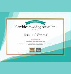 Modern certificate appreciation template on vector