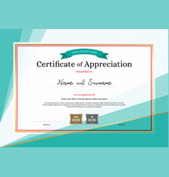 Modern certificate of appreciation template on vector