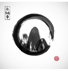 Mountains hand drawn with ink in black zen circle vector image