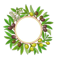olive branches frame on white background vector image