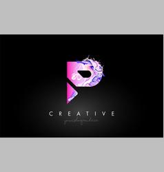 P letter artistic purple paint flow icon logo vector