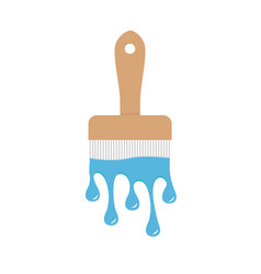 paintbrush icon with blue color drops flowing vector image