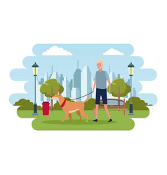 People in the park vector