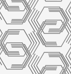 Perforated paper with broken hexagons vector