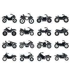 Race quad bike icons set simple style vector