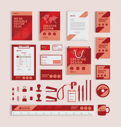 Red geometric corporate identity design template vector