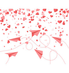 Red paper airplanes and hearts fly between vector