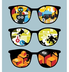 Retro set of sunglasses with cool reflection vector