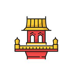 Retro thailand building isolated spirit house icon vector
