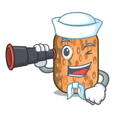 Sailor with binocular fried tempeh snack above vector
