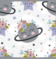 Seamless pattern with beautiful planet and flowers vector