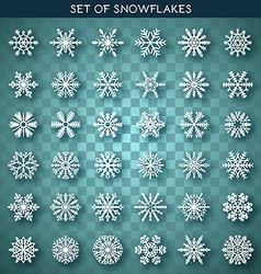 Set 36 white different snowflakes handmade with vector image