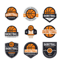 set basketball logos vector image