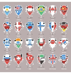 set cartoon map pointers with expressions vector image