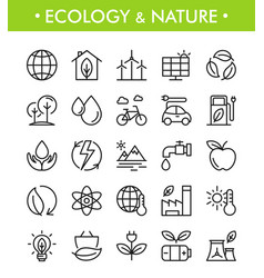 set ecology and nature icons vector image