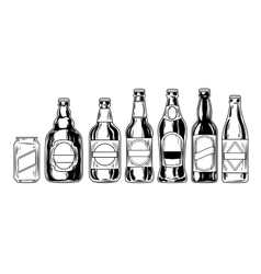 Set icons of beer bottles vector image