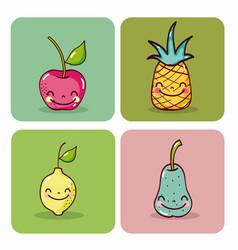 set of cute fruits cartoons vector image