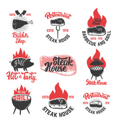 Set of vintage steak house emblems grilled steak vector