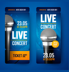 Set ticket for concert with microphone vector